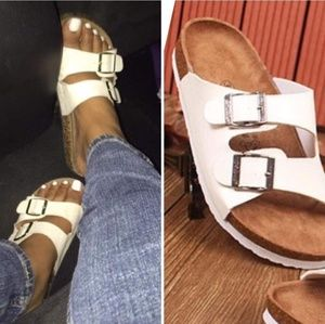 Shoes - White slip on buckle sandals faux leather